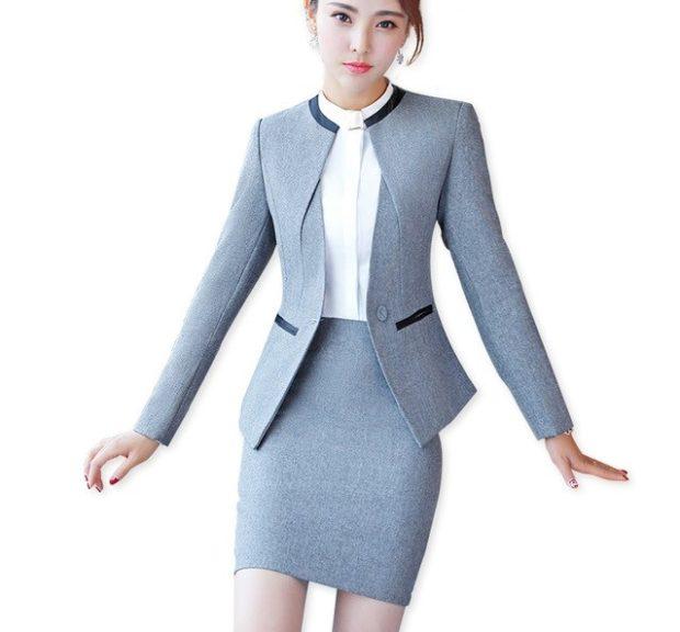 модные образы на 1 сентября 2019 юбочный костюм серый