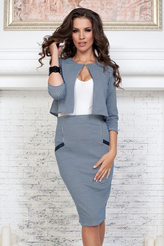 модные образы на 1 сентября 2019 юбочный костюм мелкая клетка