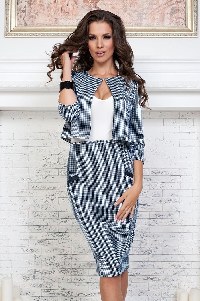 модные образы на 1 сентября 2018 юбочный костюм мелкая клетка