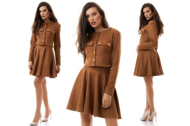 модные образы на 1 сентября 2018 юбочный костюм коричневый