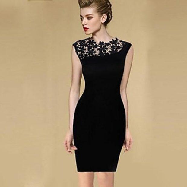 модные образы на 1 сентября 2018 платье классическое черное с ажурной вставкой
