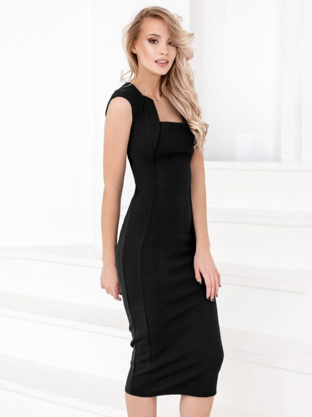 модные образы на 1 сентября 2019 платье классическое черное длина миди