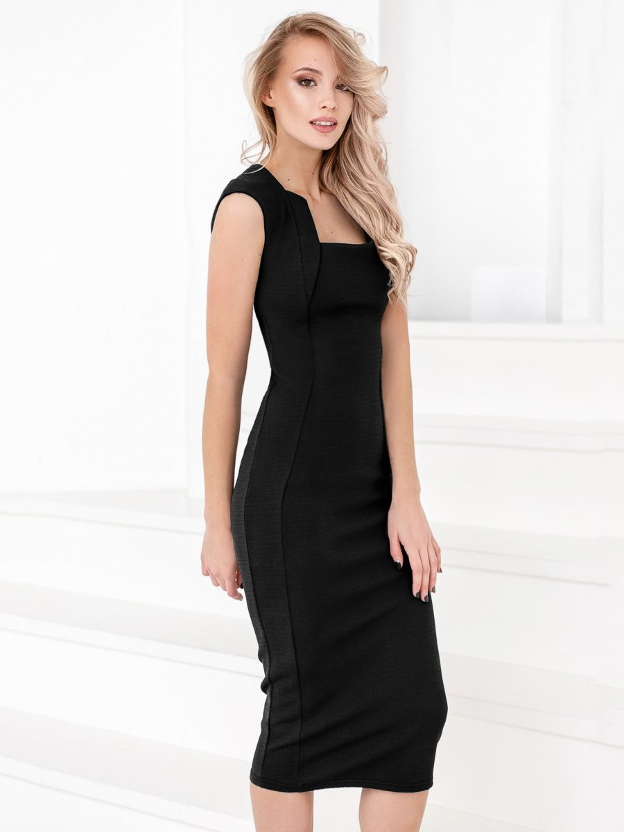 модные образы на 1 сентября 2018 платье классическое черное длина миди