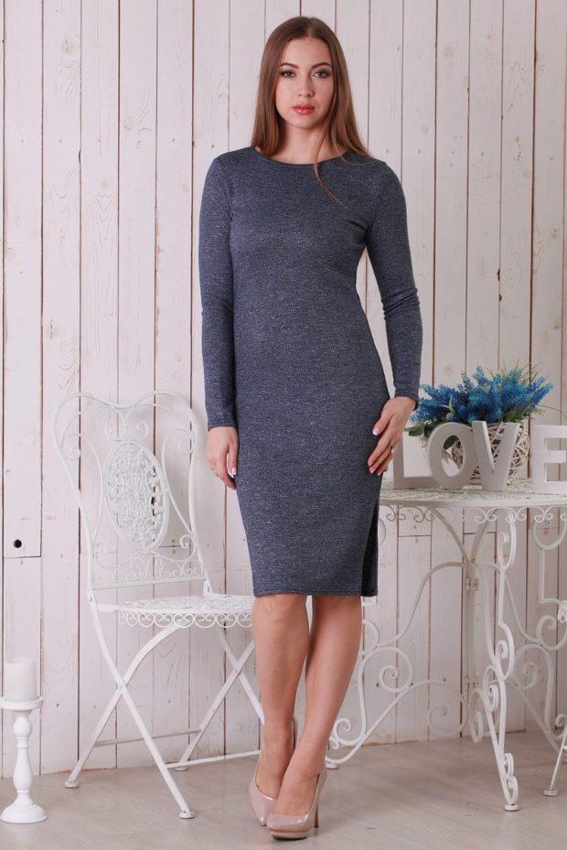 модные образы на 1 сентября 2019 платье классическое серое трикотажное
