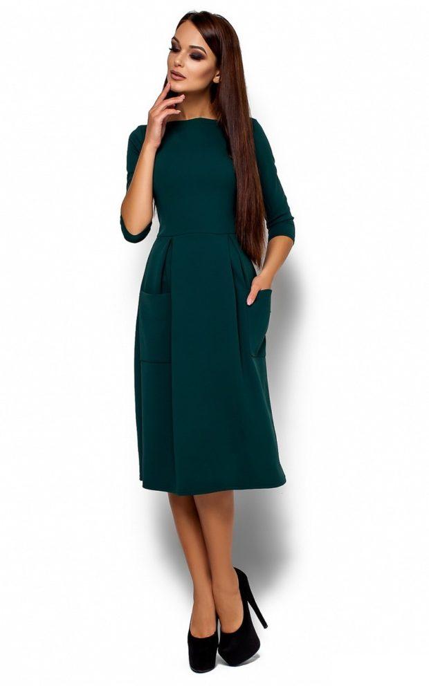 модные образы на 1 сентября 2019 платье классическое зеленое с карманами