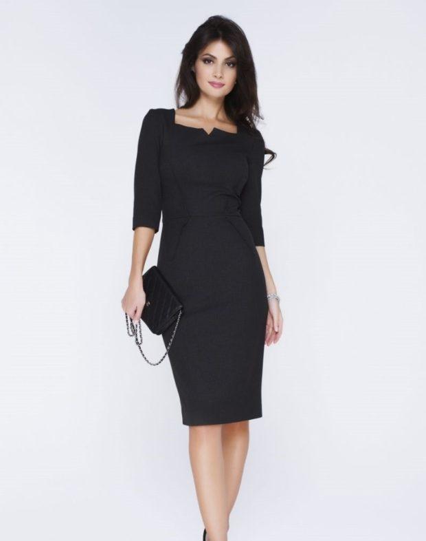 модные образы на 1 сентября 2019 платье классическое черное