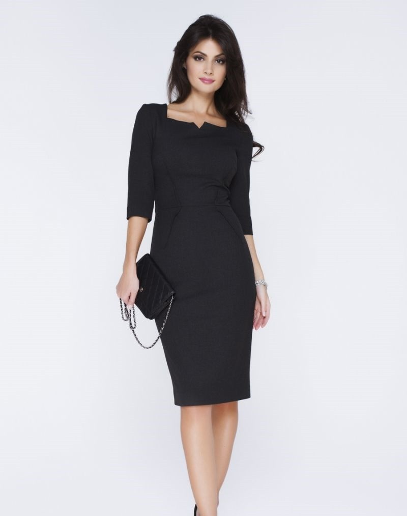 модные образы на 1 сентября 2018 платье классическое черное