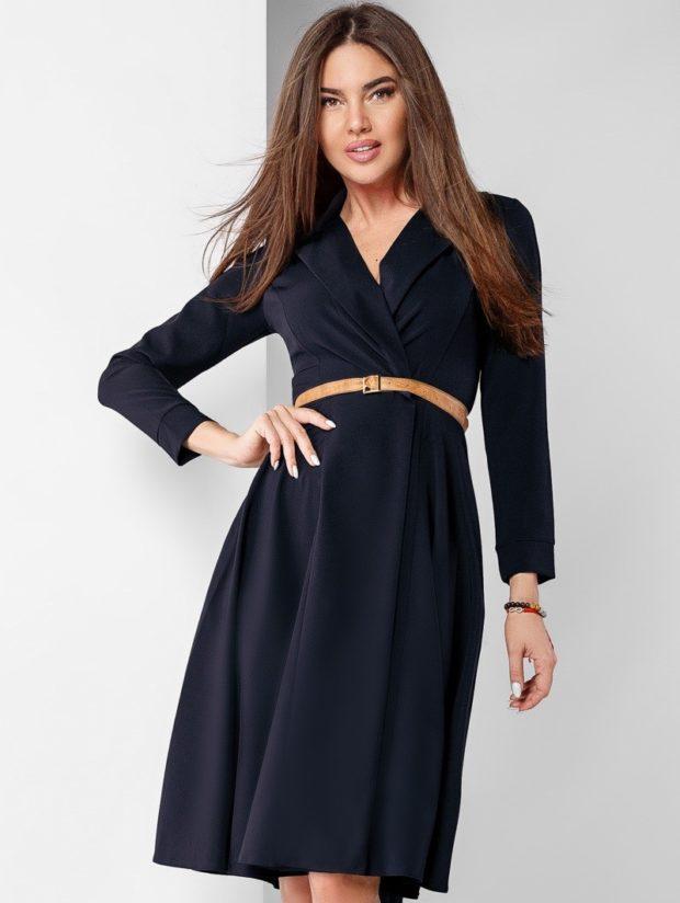 модные образы на 1 сентября 2019 платье классическое черное под пояс