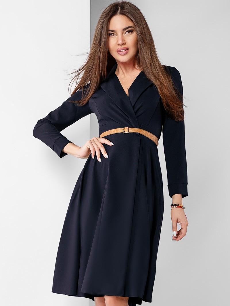 модные образы на 1 сентября 2018 платье классическое черное под пояс