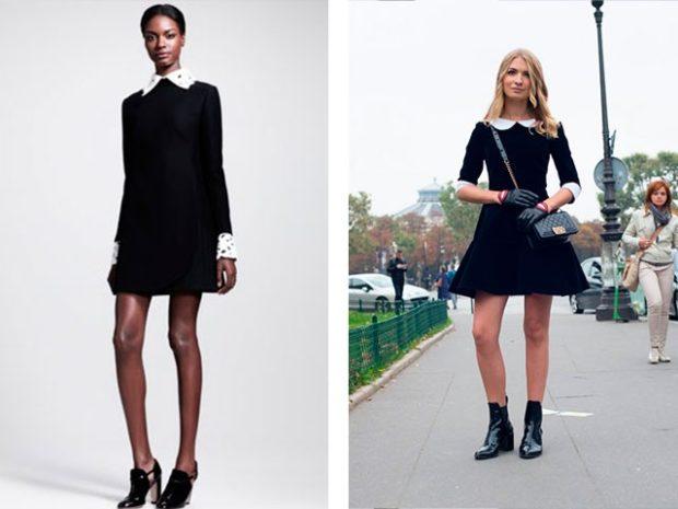 модные образы на 1 сентября 2018 платье классическое черное с белым воротом короткое