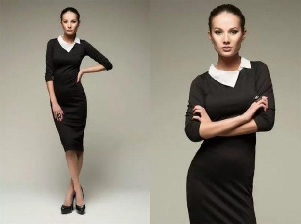 модные образы на 1 сентября 2019 платье классическое черное по фигуре с белым воротом