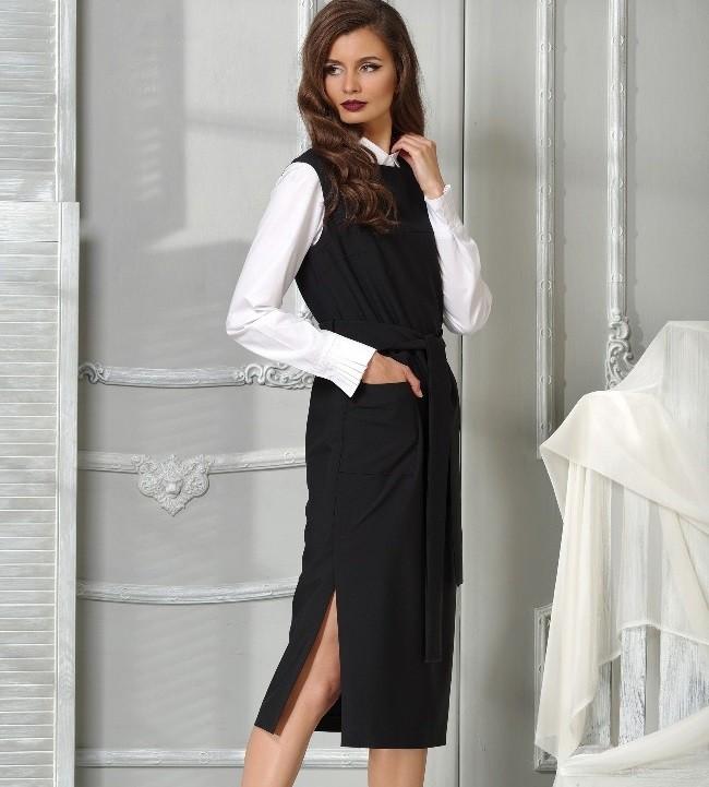 модные образы 1 сентября 2019 сарафан черный длинный под блузку