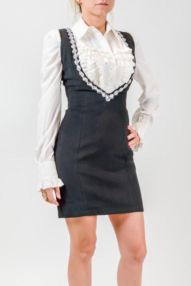 модные образы 1 сентября 2019 сарафан серый под блузку