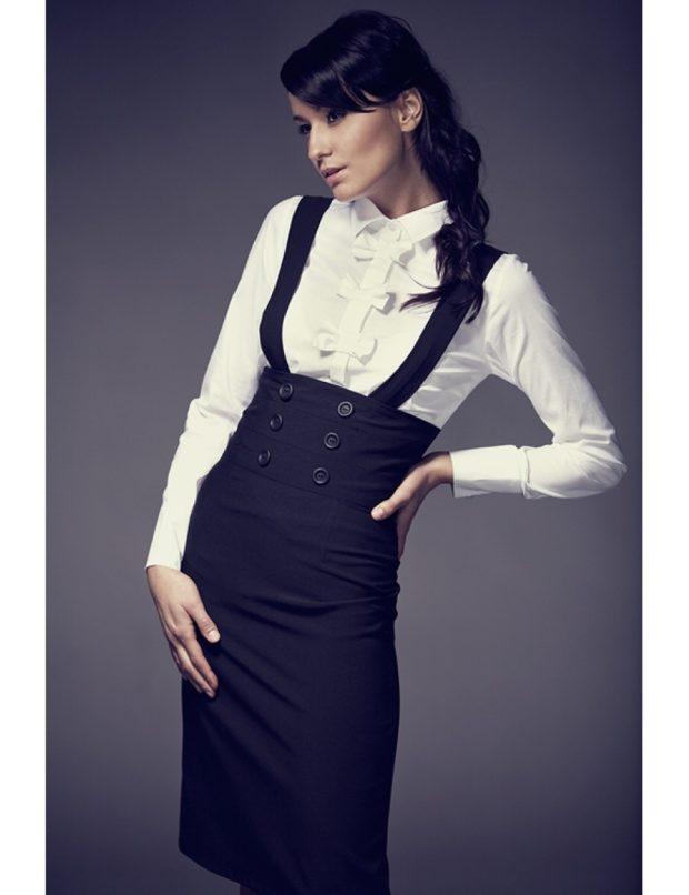 модные образы 1 сентября 2019 сарафан черный под белую блузку