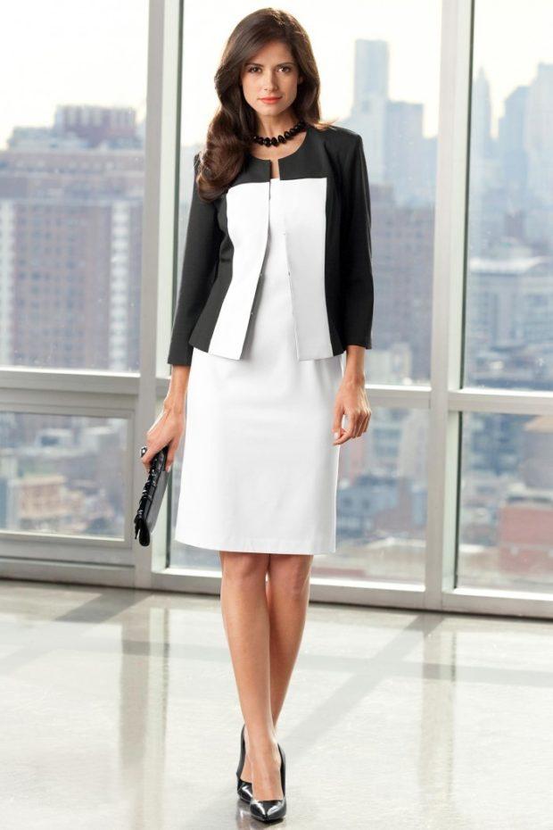 модные образы на 1 сентября 2019 платье белое жакет черно-белый