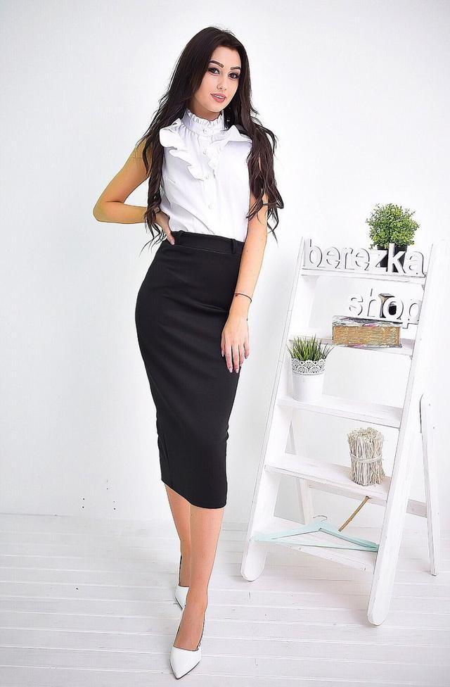 модные образы на 1 сентября 2018 юбка -карандаш черная под белую блузу