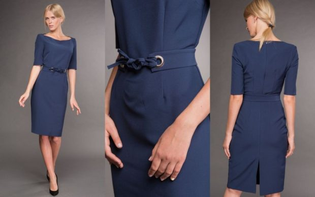 модные образы на 1 сентября 2018 синее классическое платье