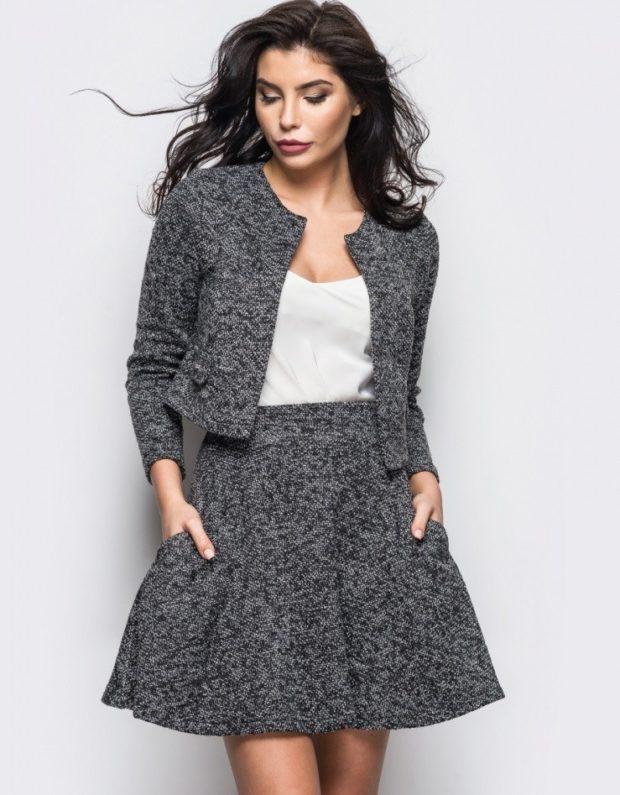 модные образы на 1 сентября 2019 серая юбка под серый жакет