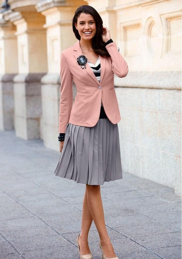 модные образы на 1 сентября 2019 серая юбка под розовый жакет