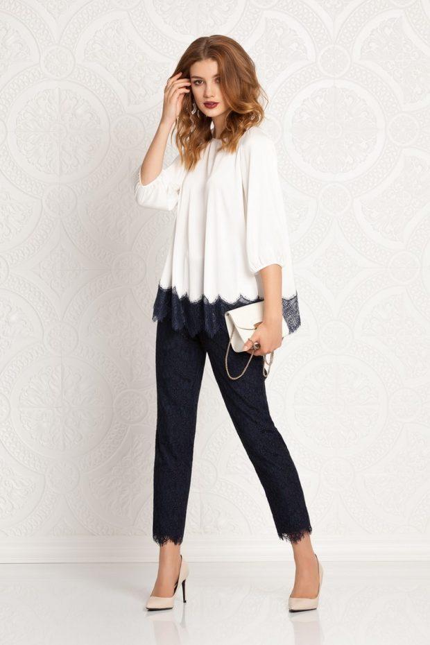 модные образы на 1 сентября 2019 черные брюки под белую блузу