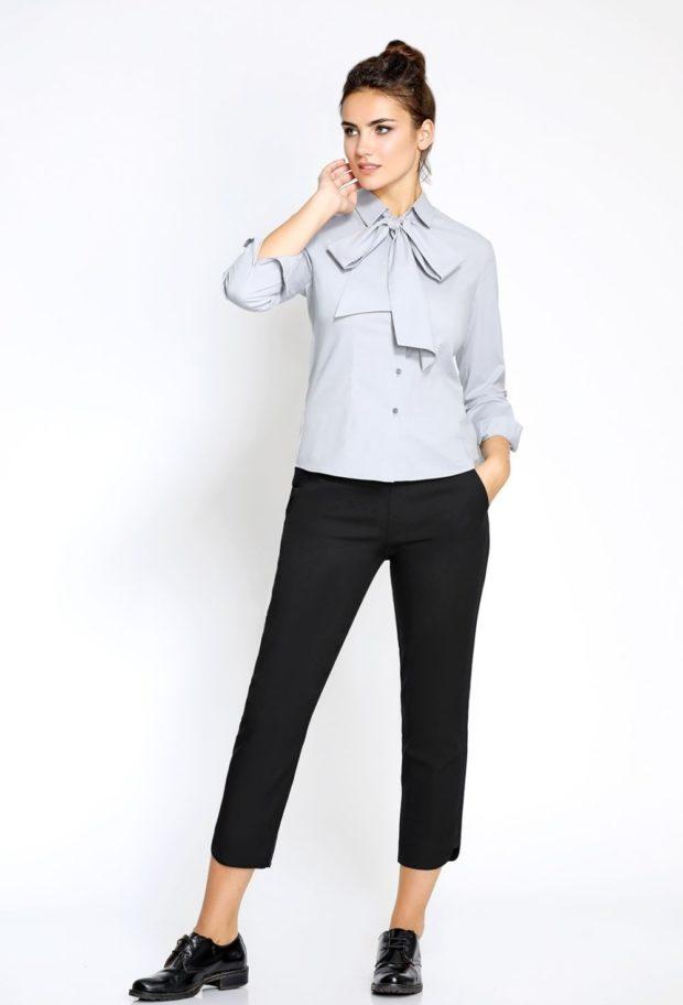модные образы на 1 сентября 2019 черные брюки под серую рубашку