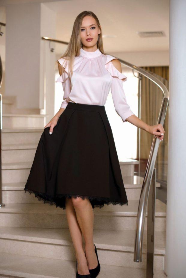 модные образы на 1 сентября 2019 черная юбка под белую блузу