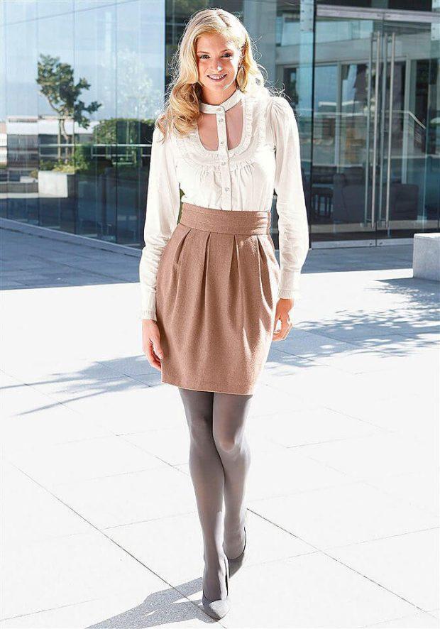 модные образы на 1 сентября 2019 бежевая юбка под блузку белую