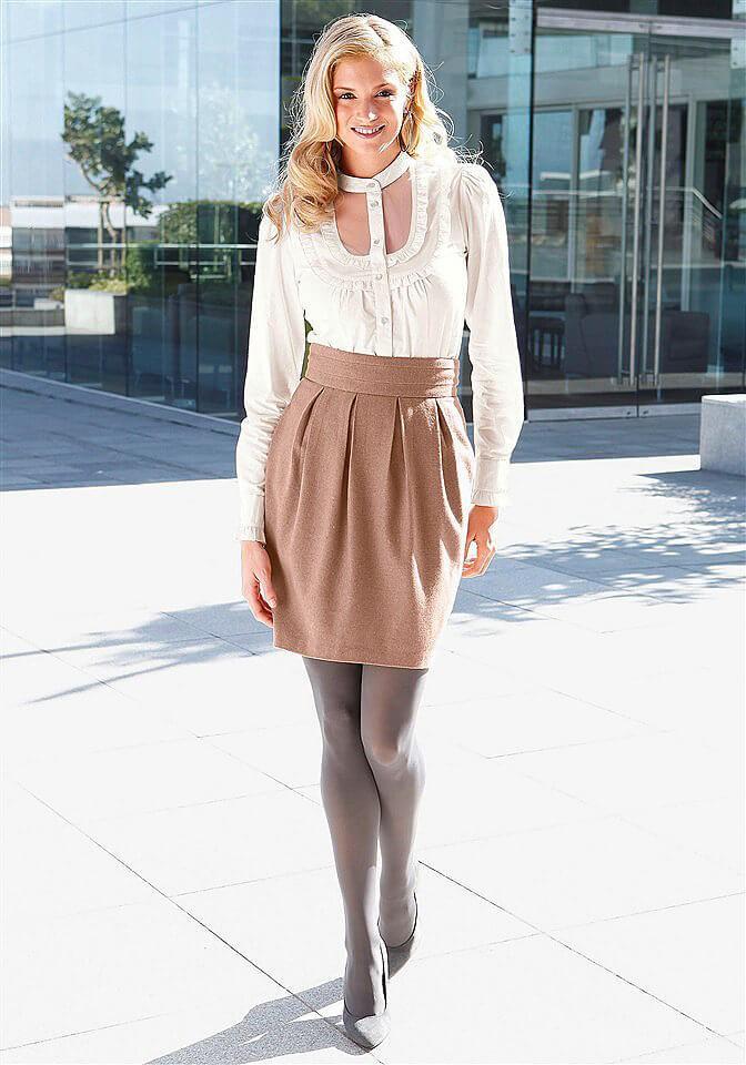 модные образы на 1 сентября 2018 бежевая юбка под блузку белую