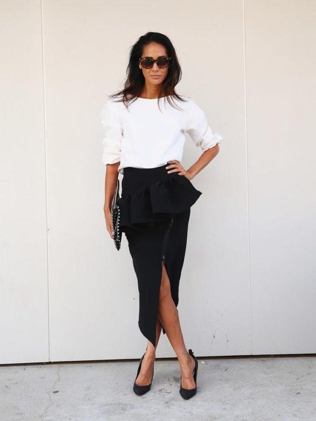 модные образы на 1 сентября 2019 юбка черная под блузку