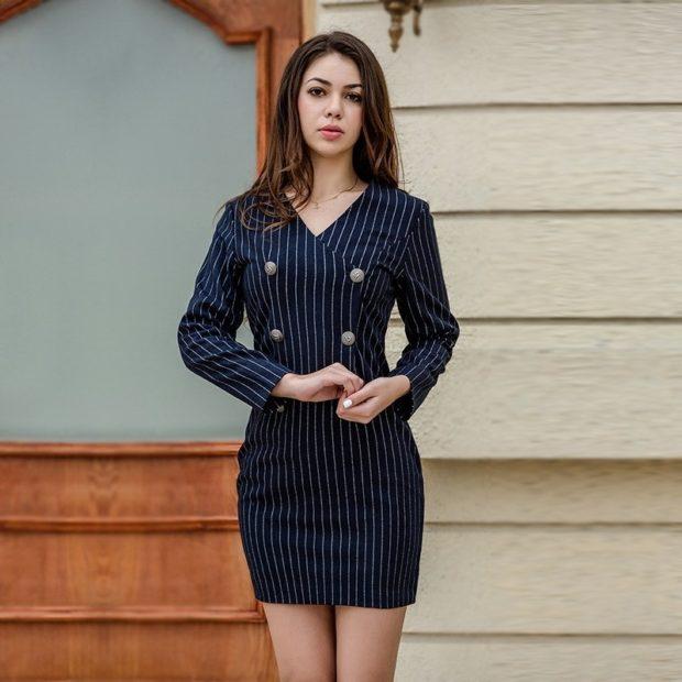 модные образы на 1 сентября 2019 платье черное в белую полоску