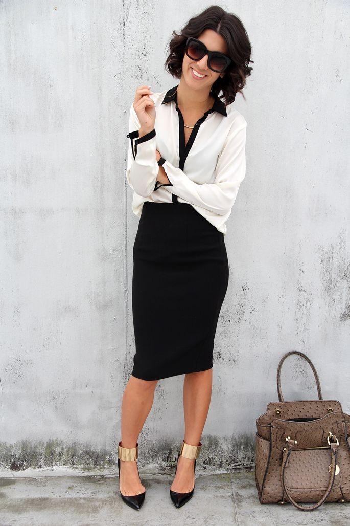 модные образы на 1 сентября 2018 черная юбка под блузку белую