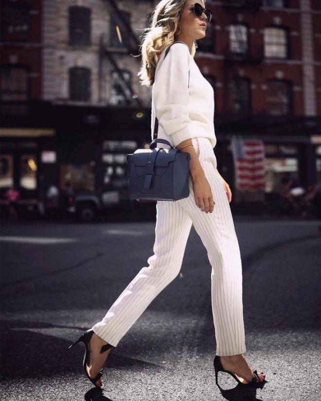 модные образы на 1 сентября 2018 брюки белые под блузку