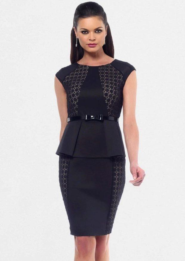 модные образы на 1 сентября 2019 юбочный костюм черный
