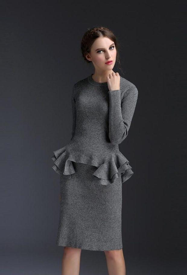 модные образы на 1 сентября 2019 серый юбочный костюм