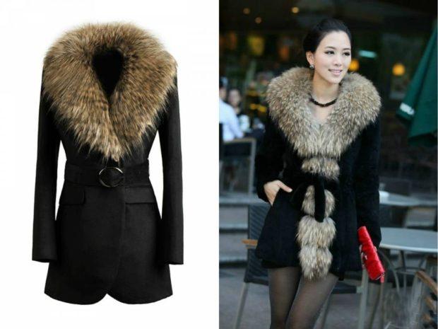 женское пальто осень-зима 2019-2020 с мехом черное