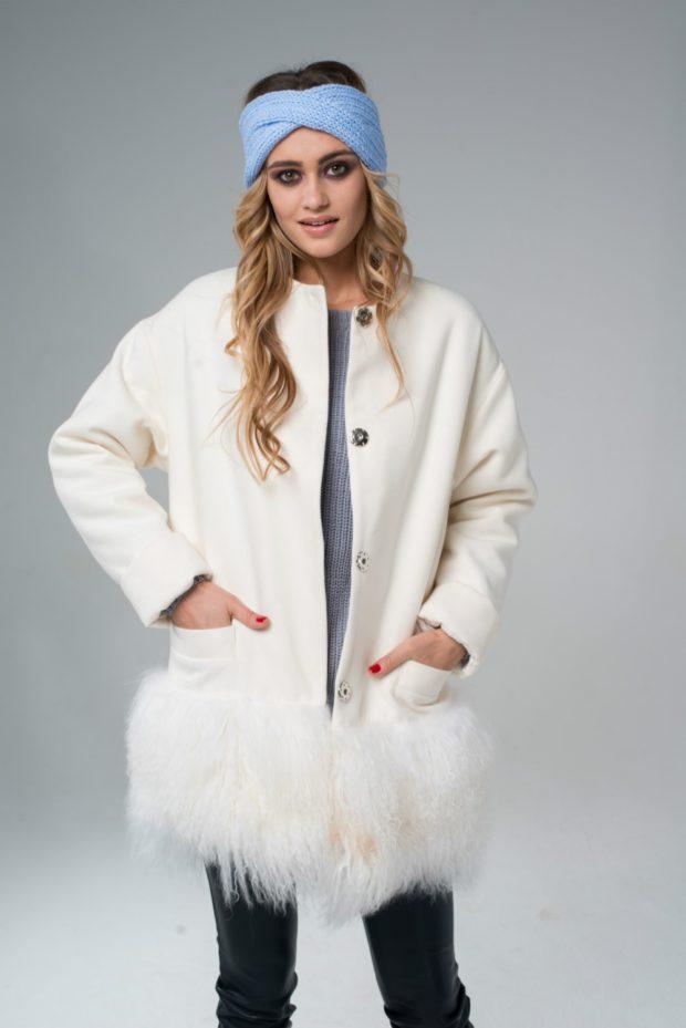 пальто осень-зима: с меховой отделкой внизу
