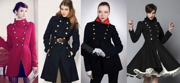 пальто осень-зима 2019-2020: стиль милитари красное черное