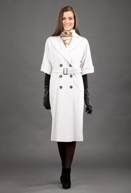 модные пальто осень зима 2017 2018 белое с короткими рукавами длинное