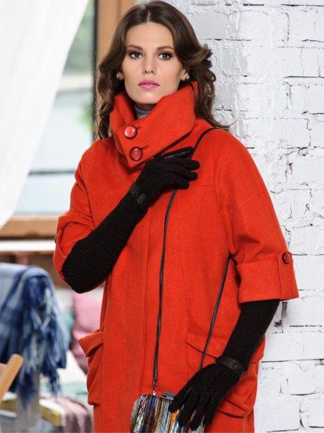 модные пальто осень зима 2017 2018 красное с короткими рукава