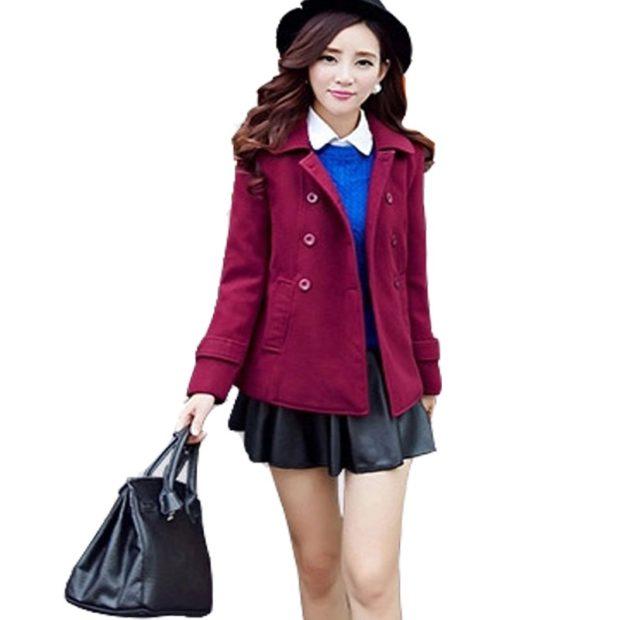 модное пальто осень зима 2017 2018 пальто короткое бордовое