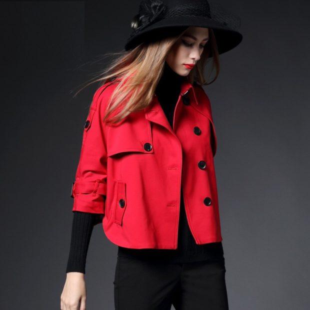 модное пальто осень зима 2017 2018 пальто красное короткое