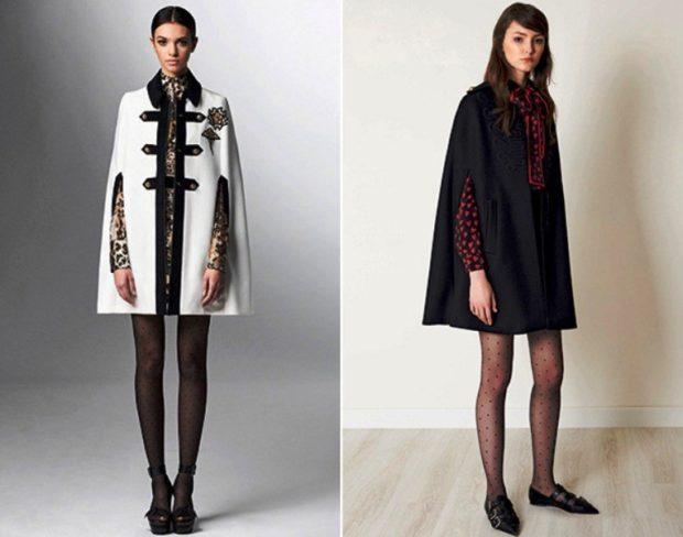 модные пальто осень-зима 2019-2020: кейпы белый черный