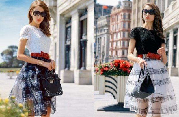 модные платья на каждый день 2018 летние бело черное пышная юбка