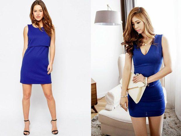 модные платья на каждый день: короткое синее