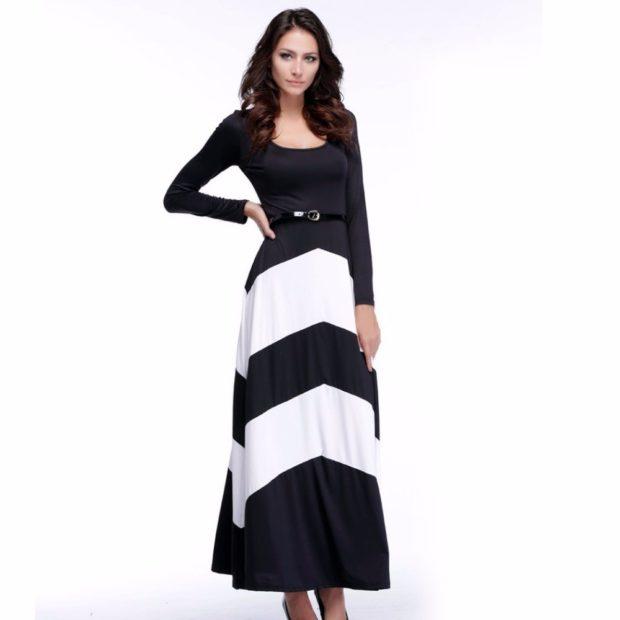 модные платья на каждый день 2018 черное с белым в пол