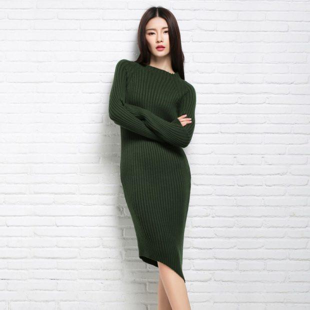 модные платья на каждый день 2018 зеленый трикотаж теплый