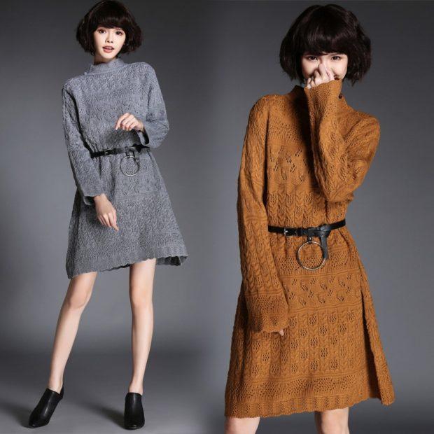 модные платья на каждый день 2018 трикотажные по коленок серое коричневое
