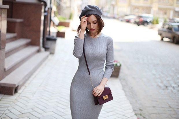 модные платья на каждый день 2018 серое трикотажное миди