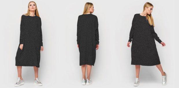 модные платья на каждый день 2018 трикотажное черное свободный крой