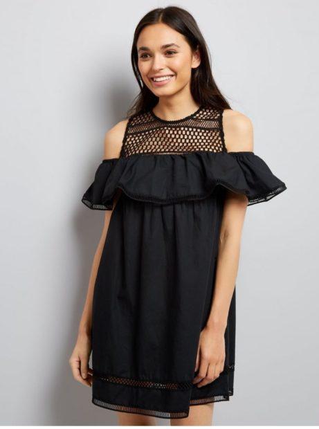 модные платья на каждый день 2018 черное открытые плечи свободный крой
